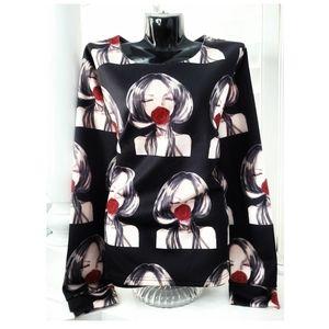 Fashion Girl Rose Long Sleeve Top Shirt XL